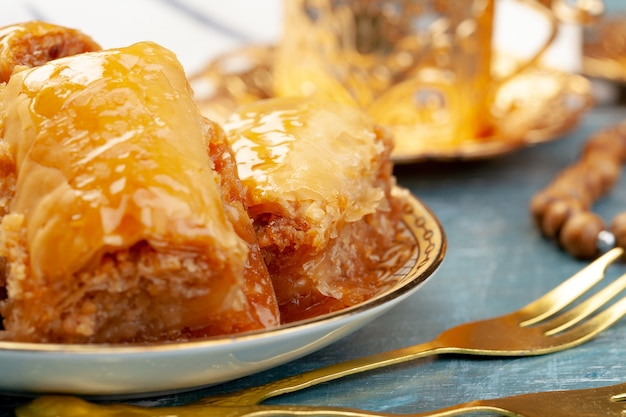 Of delicious turkish baklava served on a plate