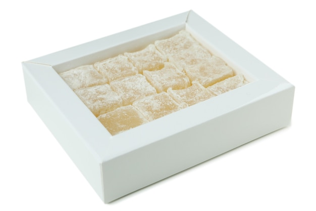 Delicious turkish delight isolated on white