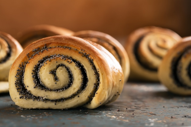 Delicious twisted baked buns