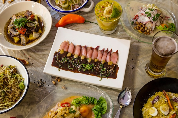 Delicious typical dishes of peruvian cuisine for restaurant menu