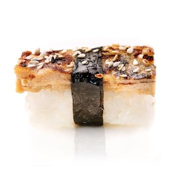 Delicious unagi eel nigiri sushi ,eel sushi, on white background. traditional japanese cuisine.