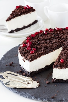 Delicious vanilla chocolate cheesecake.