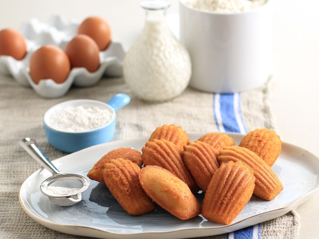 白い楕円形のセラミックプレート上のおいしいバニラマドレーヌフレンチケーキペストリー。有名なフレンチスウィートシェルペストリーケーキ、通常はシュガーダスティングを添えて。