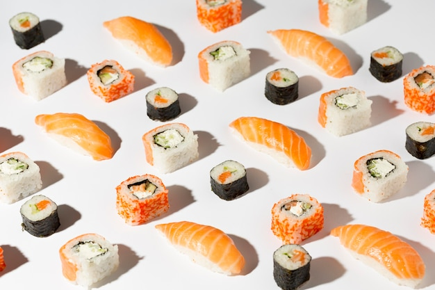 Delicious variety of sushi