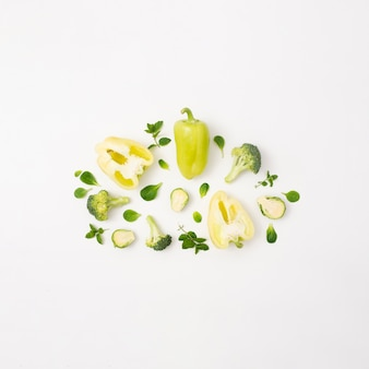 Delicious vegetables on simple white background