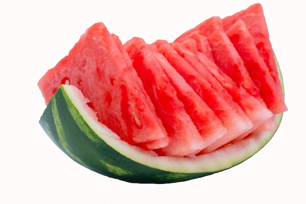 Delicious and very red watermelon cut into triangles
