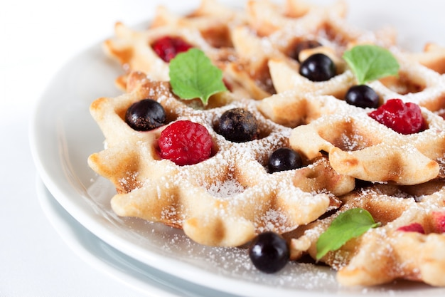 Delicious waffle with blueberries