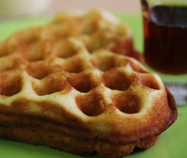 Delicious waffle with milk