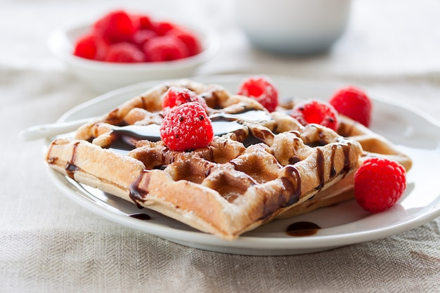Delicious waffles with chocolate