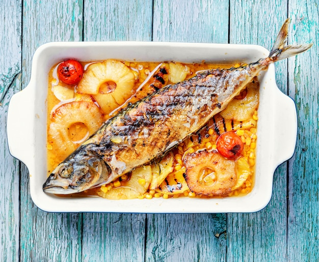 Delicious whole baked fish