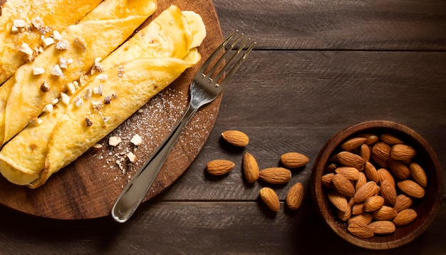 Delicious winter crepe dessert with almond