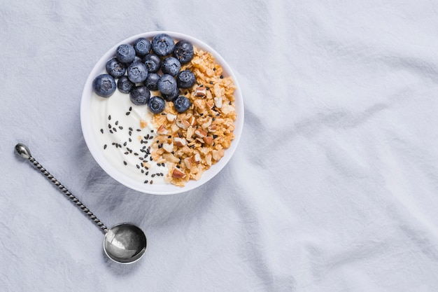 Delicious yogurt bowl with blueberries and oats