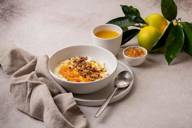 Delicious yogurt with lemon peel and honey