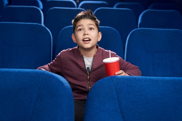Delighted boy watching interesting film in cinema