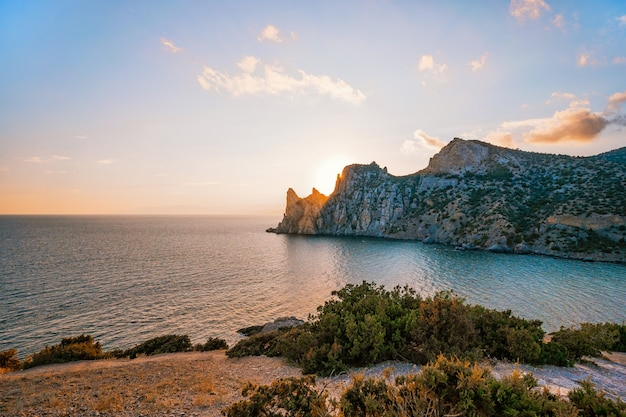 A delightful landscape at sunset from cape kapchik in the crimea mountain view and sea