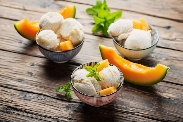 Delisious ice cream with melon and mint