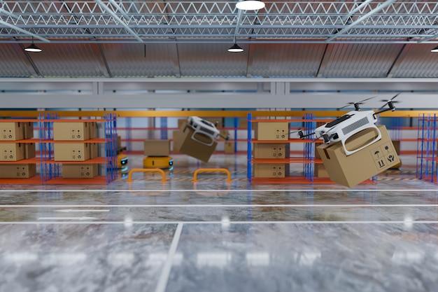 Доставка и передача беспилотного робота на склад, рендеринг 3d иллюстраций