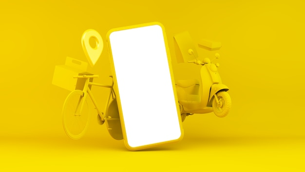 Delivery app illustration with device and transport objects