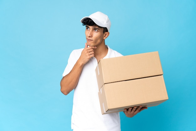 Delivery argentinian man isolated having doubts