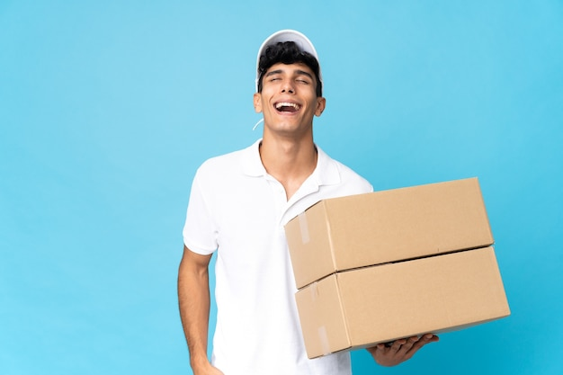 Delivery argentinian man isolated laughing
