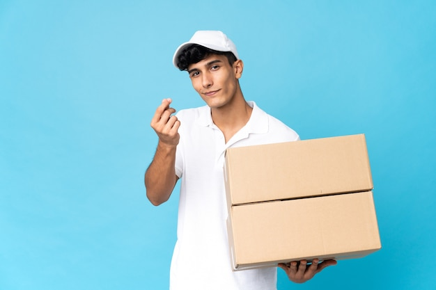 Delivery argentinian man isolated making money gesture