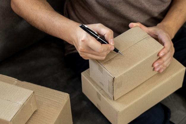 Delivery business small and medium enterprise(smes) workers packaging box