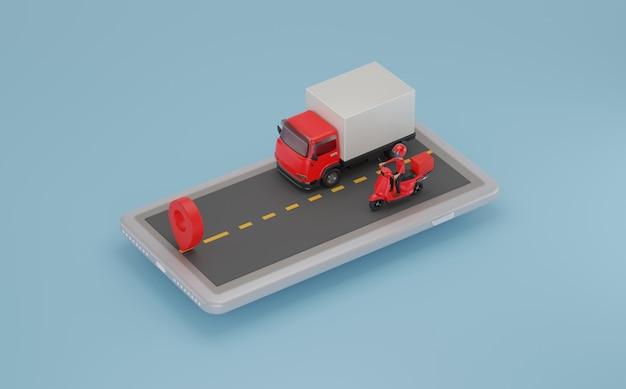 모바일에서 스쿠터와 트럭으로 배달. 3d 렌더링.