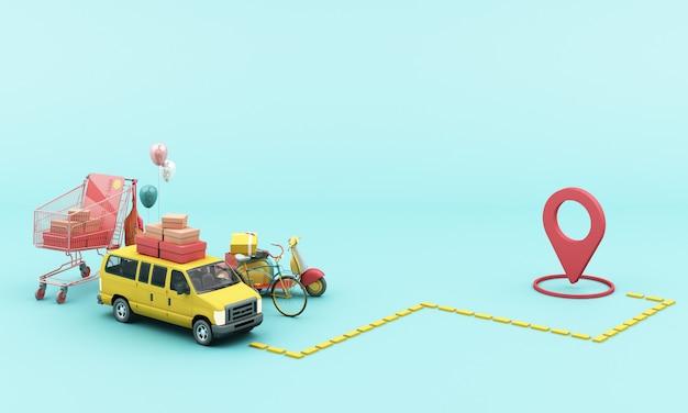 위치 모바일 응용 프로그램과 함께 노란색 스쿠터 오토바이 및 노란색 밴으로 배달