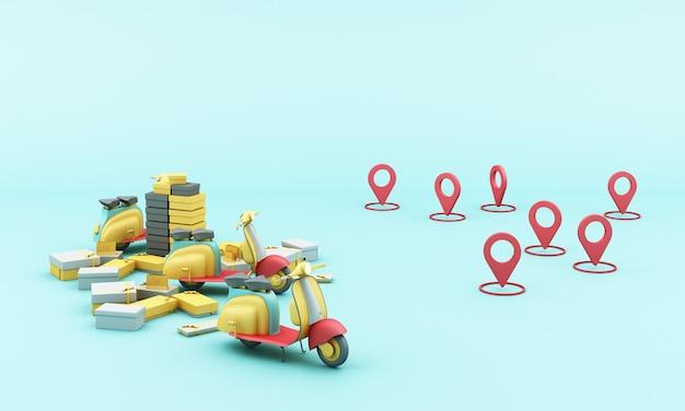 위치 모바일 응용 프로그램과 함께 노란색 스쿠터 오토바이로 배달