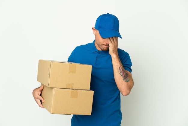 Delivery caucasian man isolated and sick expression