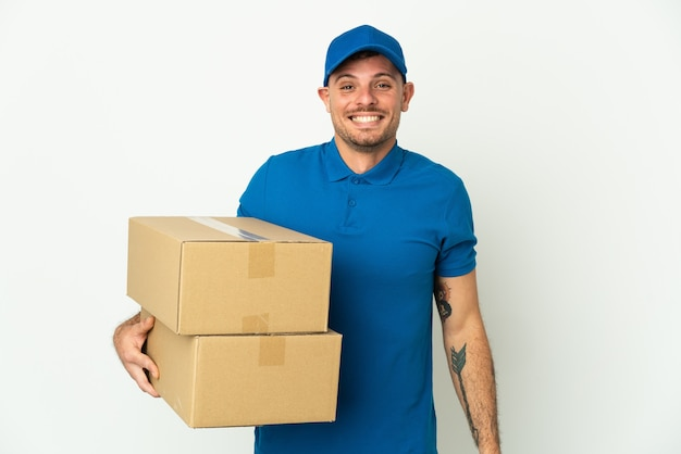 Delivery caucasian man isolated