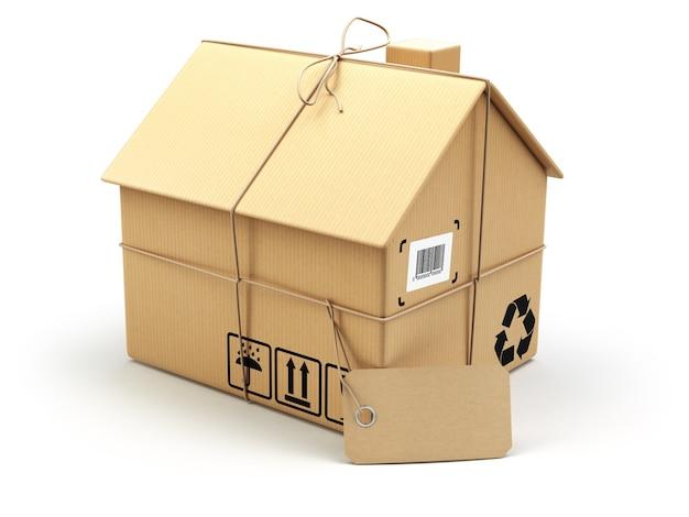 배달 개념입니다. 이사하는 집.부동산 시장. 흰색 절연 집으로 골 판지 상자입니다. 3d