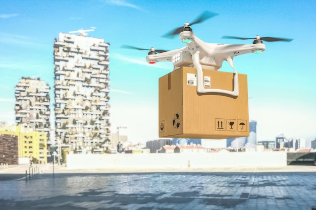 Delivery drone on duty