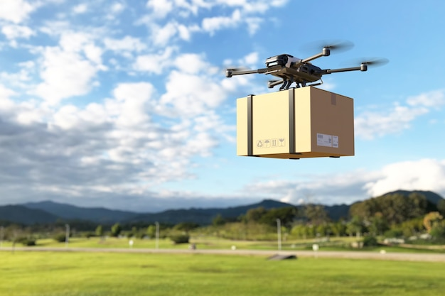 Delivery drone flying in the mountain