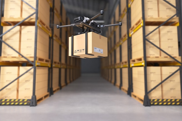Delivery drone in warehouse.