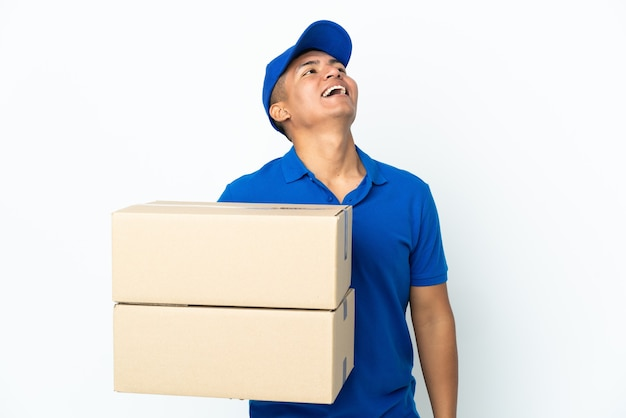 Delivery ecuadorian man isolated laughing