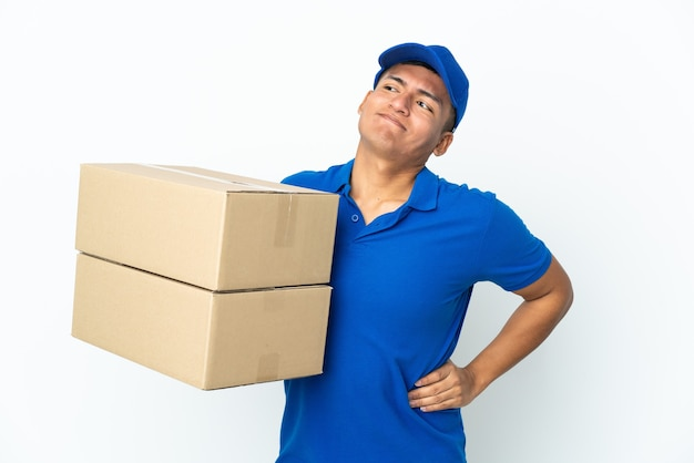 Delivery ecuadorian man isolated  suffering from backache for having made an effort