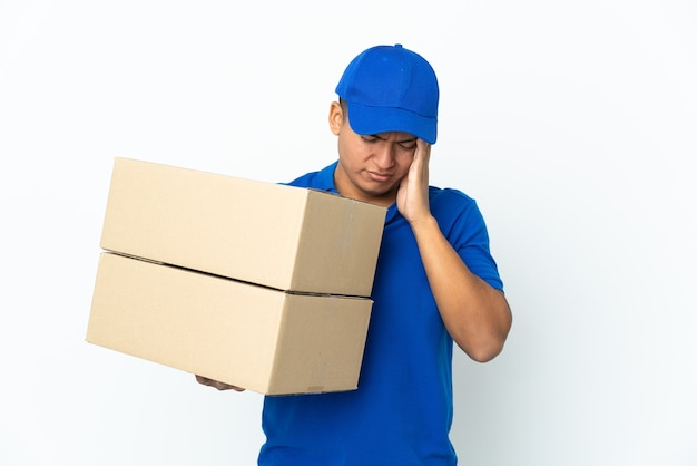 Delivery ecuadorian man isolated with headache