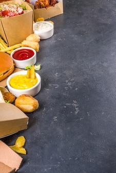 配達ファーストフード注文食品オンラインコンセプト。