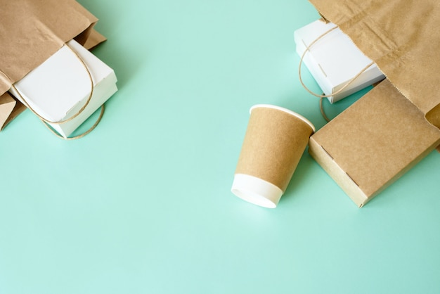 Delivery food background. fast food eco packaging on light background