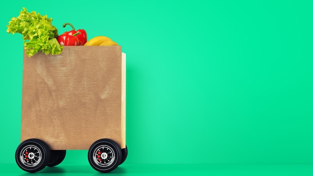 Delivery of the grocery with a shopping bag on wheels with green background