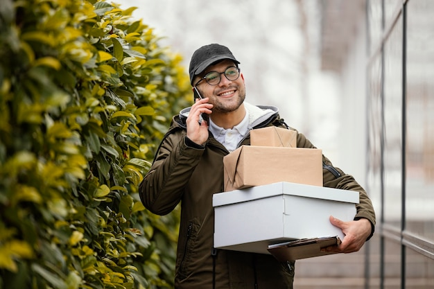 Delivery male with packages