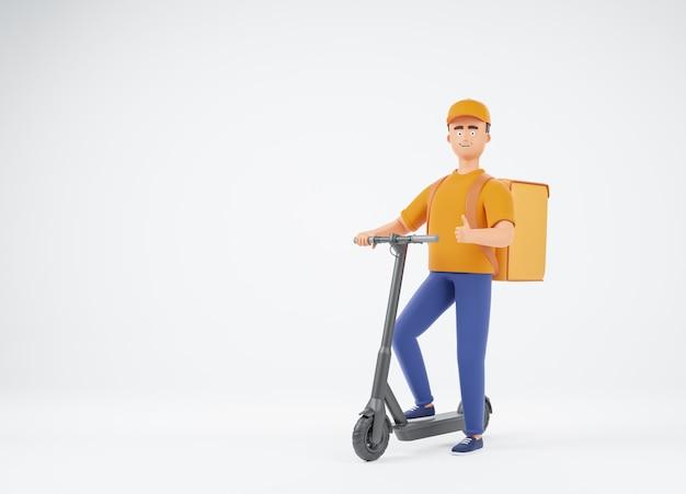 엄지손가락을 보여주는 전기 킥 스쿠터에 음식 배낭과 노란색 형태의 배달 남자 택배