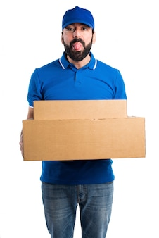 Delivery man doing a joke
