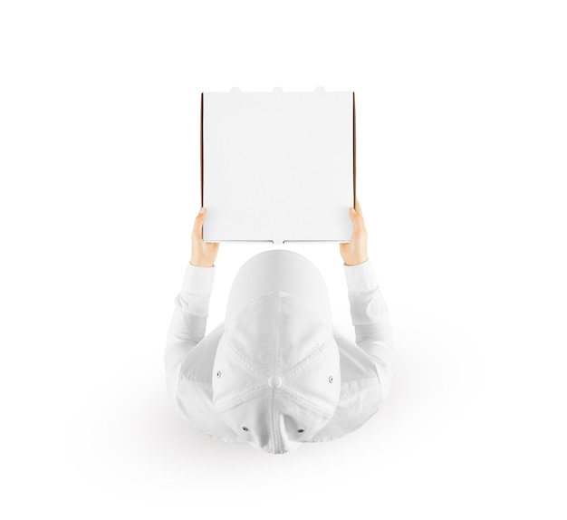 白、上面図で隔離の空白のピザボックスを保持している配達人。