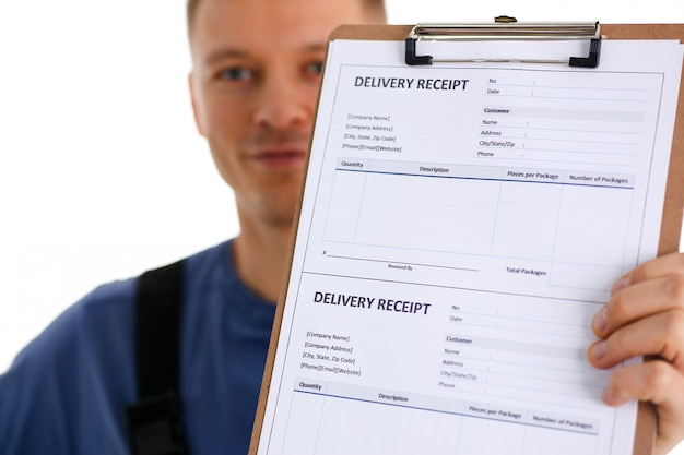 Delivery man holding receipt