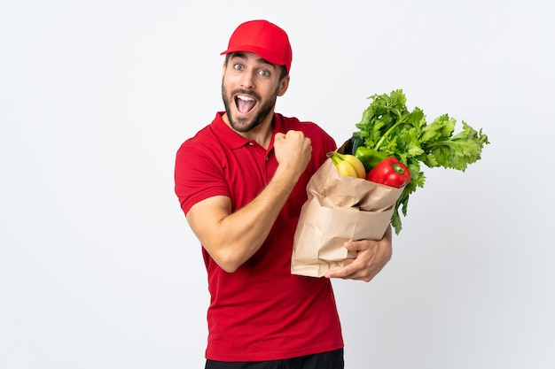 Delivery man over isolated background
