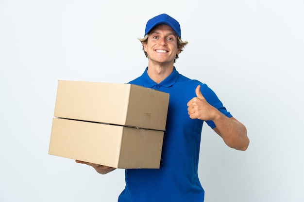 Delivery man isolated giving a thumbs up gesture