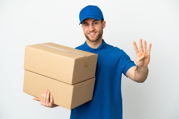 Delivery man isolated happy and counting four with fingers