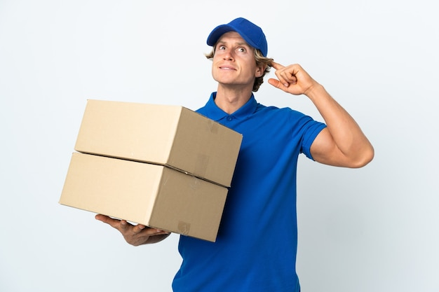 Delivery man over isolated having doubts and thinking